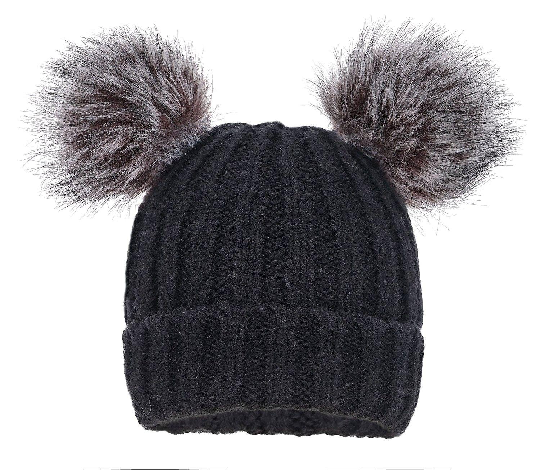 3390400824484 Men   Women s Cable Knit Beanie With Faux Fur Pompom Ears - Black Grey -  C618804620X - Hats   Caps