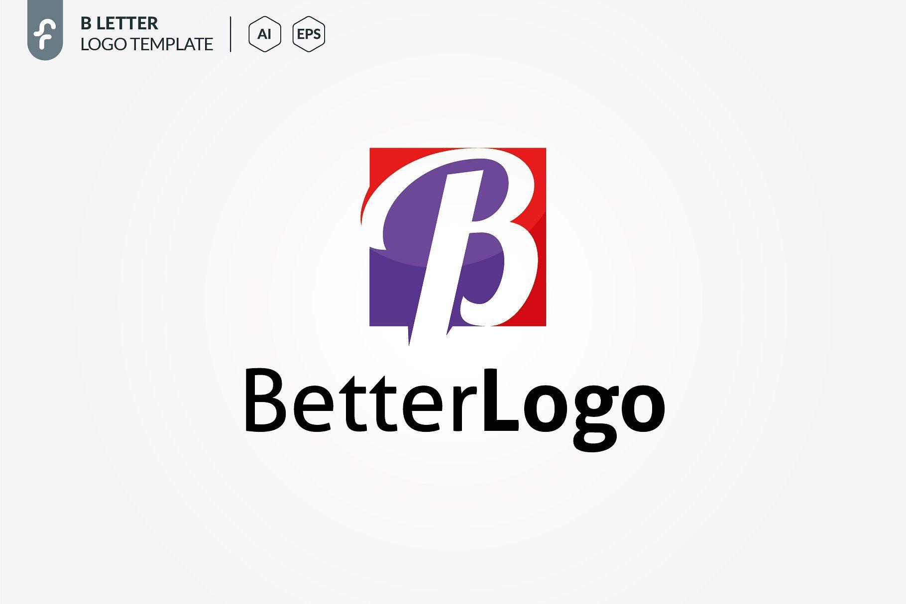 B Letter Logo Letterlogotemplates Google Presentation Template