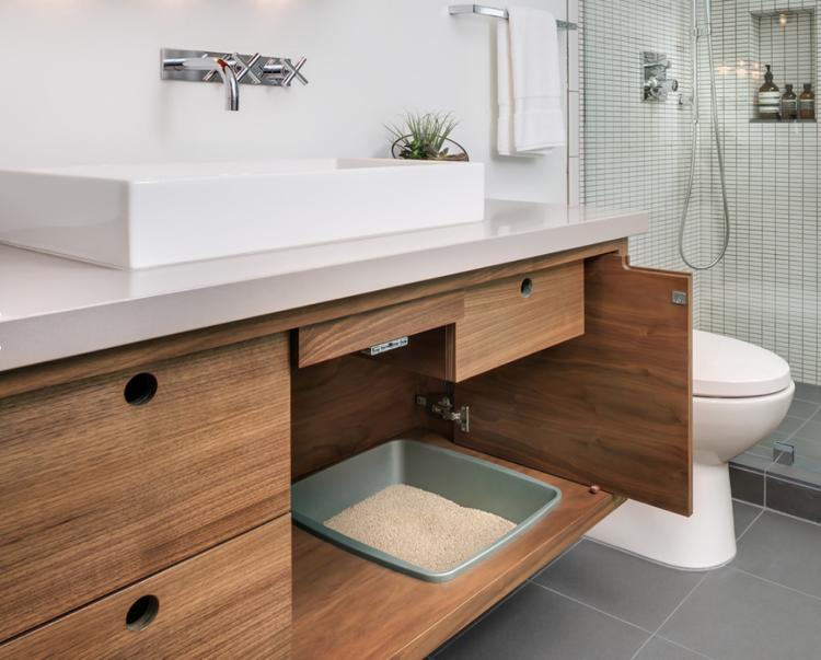 katzenklo im schrank unter waschbecken verstecken modern. Black Bedroom Furniture Sets. Home Design Ideas