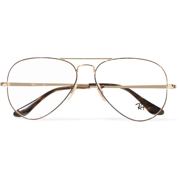 Ray-Ban Aviator gold-tone and tortoiseshell acetate optical glasses (270  BAM) ❤ liked on Polyvore featuring accessories, eyewear, eyeglasses,  glasses, ... 36e3d2e79f