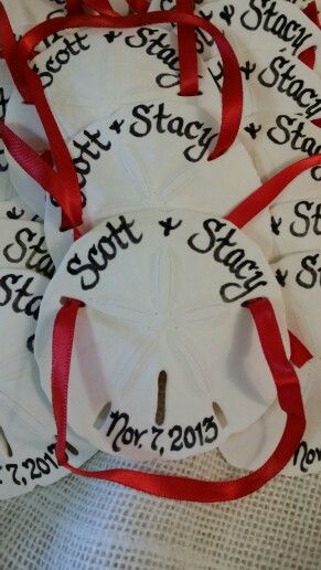 Our Personalized Calligraphy Sand Dollar Ornaments They Make A Perfect Beach Wedding Favor