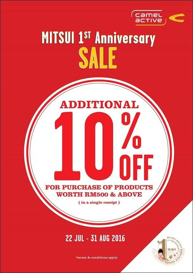 Mitsui Outlet Park Camel Active Anniversary Sale in Malaysia