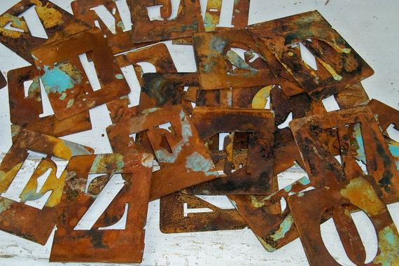 Rusty metal alphabet stencil complete set shabby chic farmhouse home decor or accents Anita Spero