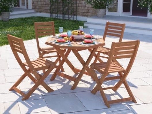 Wooden Patio Set 4 Seater Table Chairs Folding Parasol ...