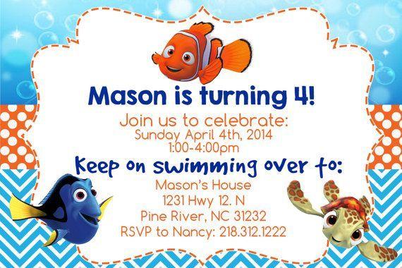 Finding Nemo Blank Invitations Invitation Printable 4x6