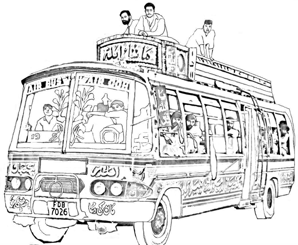 Make a Pakistan bus. Some buses in Pakistan are covered