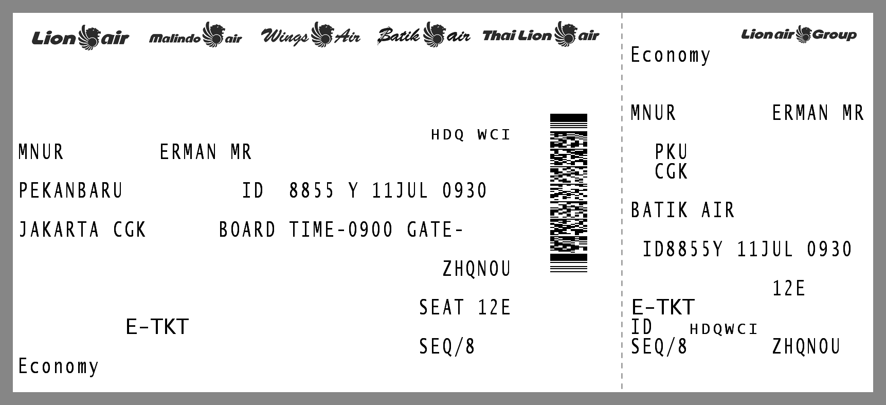 Boarding Pass For Erman Mnur Leaving From Pku Air