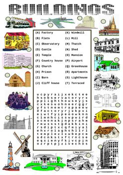 Types of buildings worksheet match to the picture and a for Types of homes to build