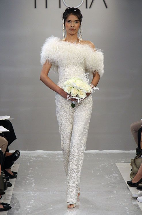 Theia Showcasing This Cool Design For A Winter Bride Wedding Pants