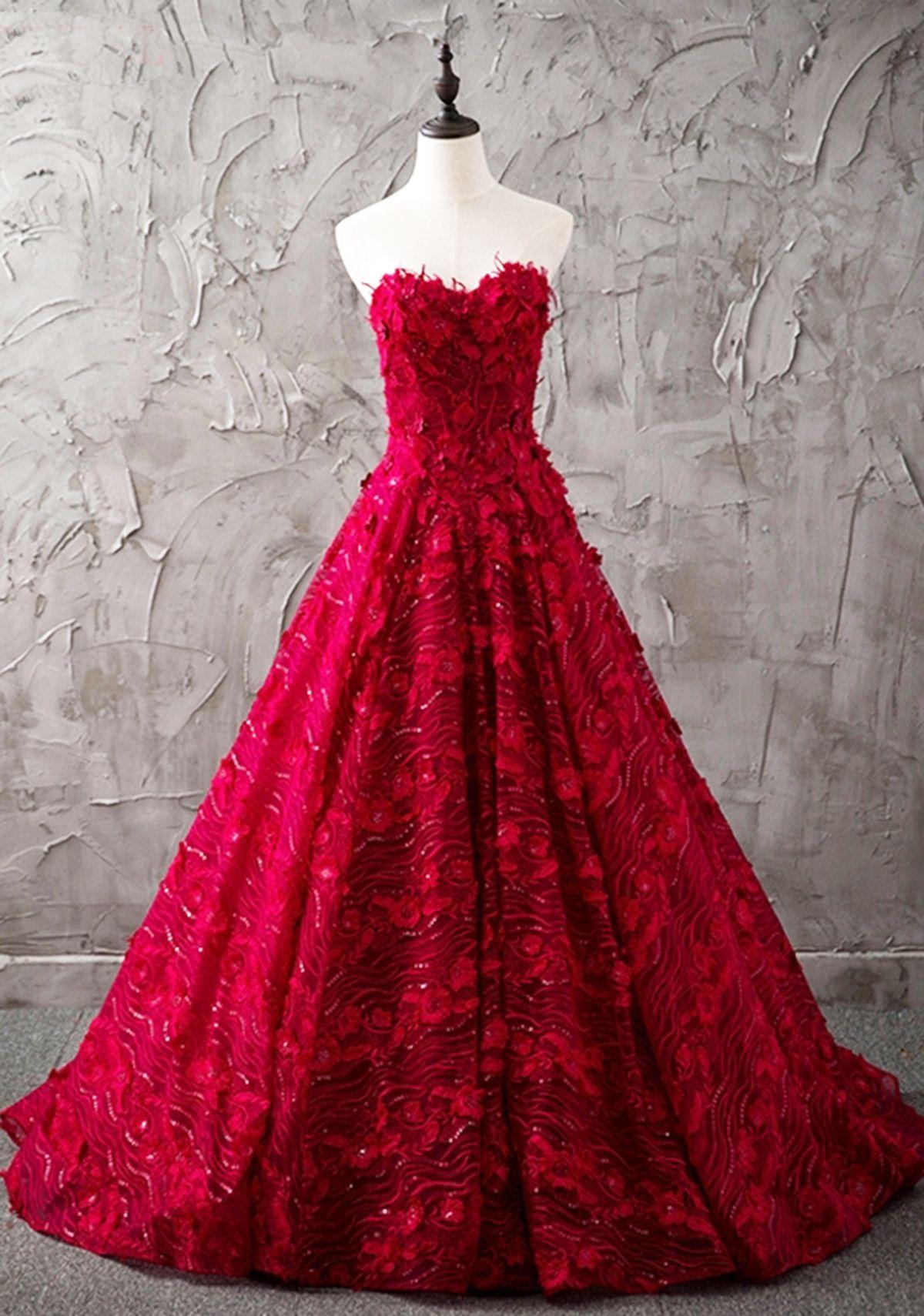 Burgundy lace strapless long formal evening dress 4504f327b6b1