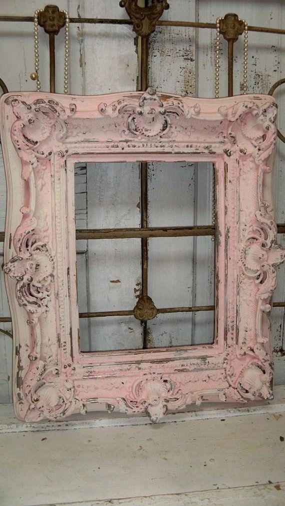 large pink cream frame shabby chic ornate wood distressed. Black Bedroom Furniture Sets. Home Design Ideas