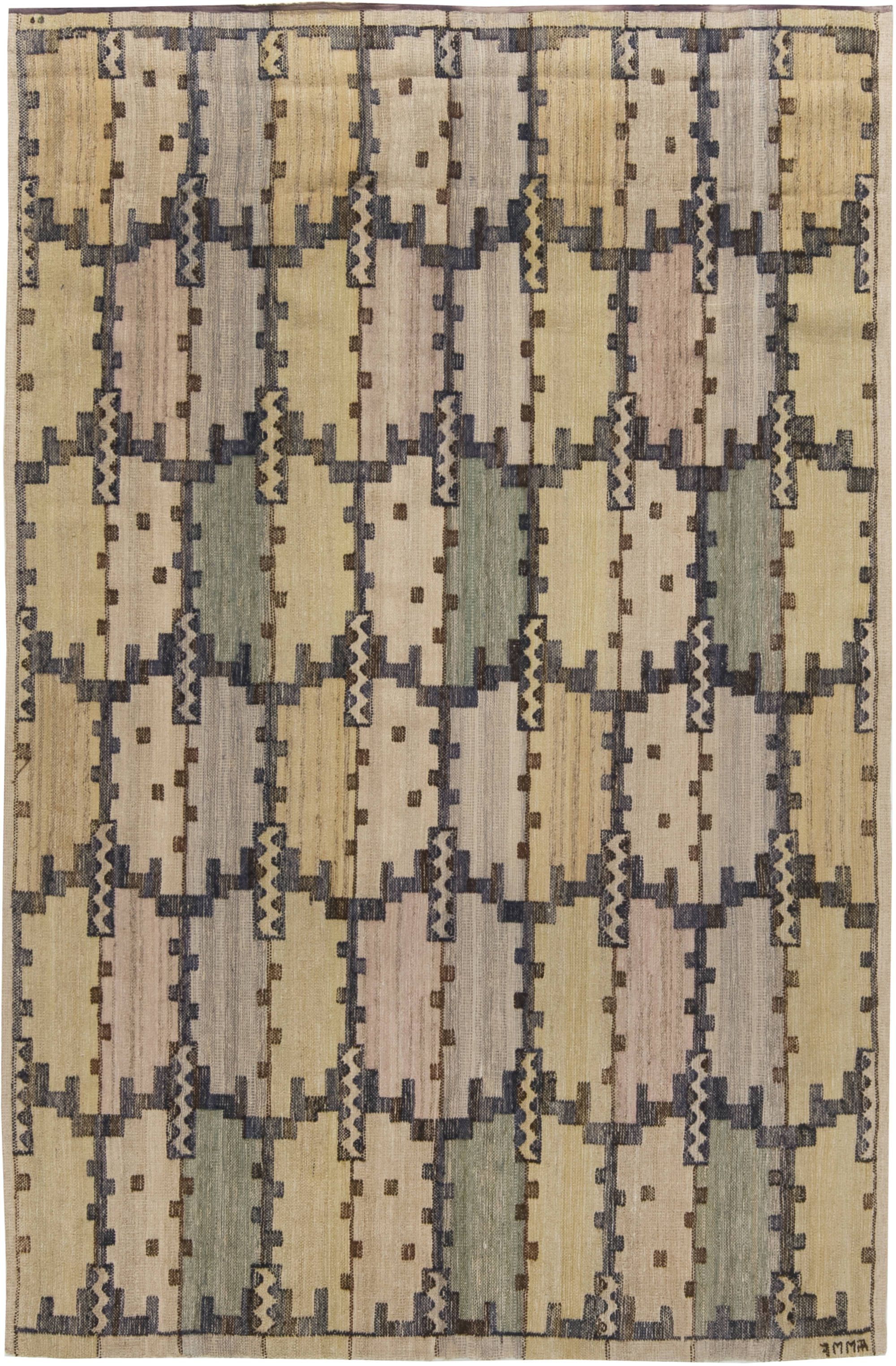 Mid Century Swedish Tapestry Weave By Marta Mass Fjetterstrom Bb6477 By Dlb Scandinavian Rug Tapestry Weaving Swedish Rug