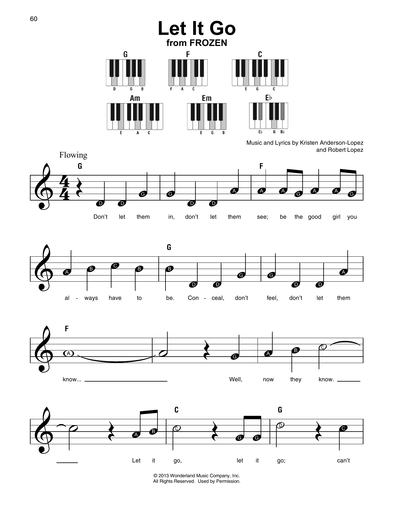 Let It Go (from Frozen) Sheet Music | Idina Menzel | Super Easy Piano