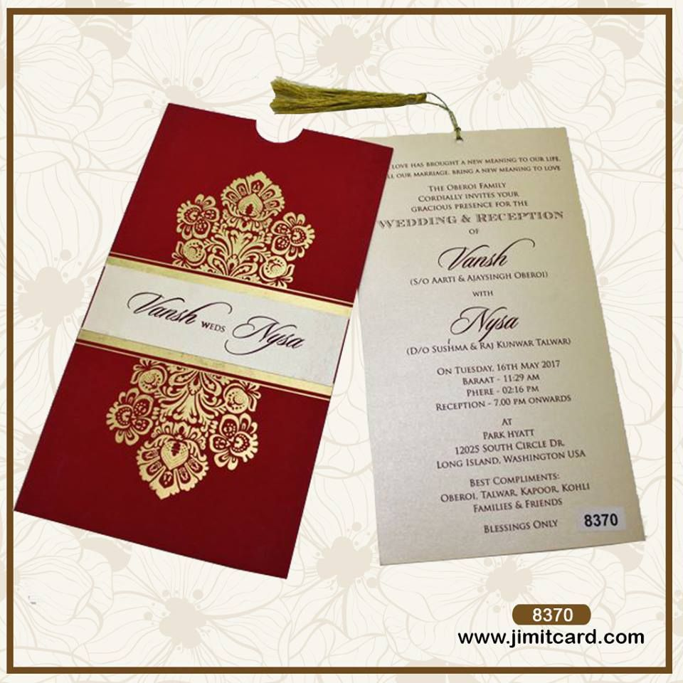 A Modern design Indian wedding card with the traditional red color ...