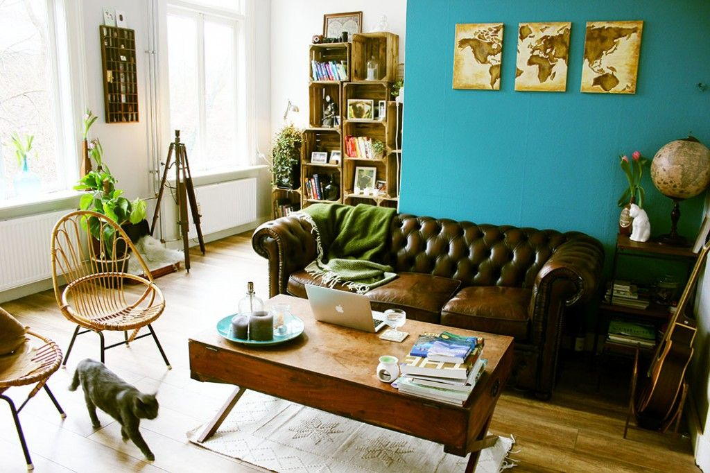 LIFESTYLE / Turquoise muur & natuur: de woonkamer | houses ...