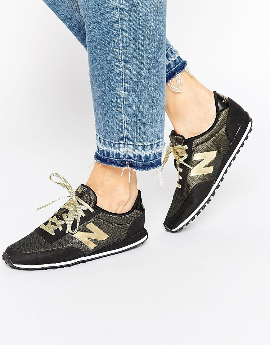 New Balance 410 Black & Metallic Gold Trainers | shoes | Pinterest ...