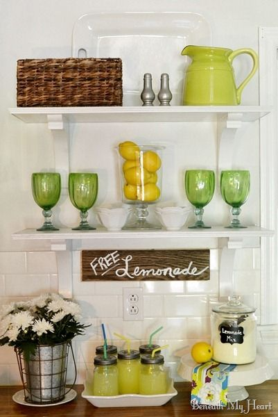Summer Decorating Idea for Open Shelves - love the lemons & fresh daisies @Traci @ Beneath My Heart