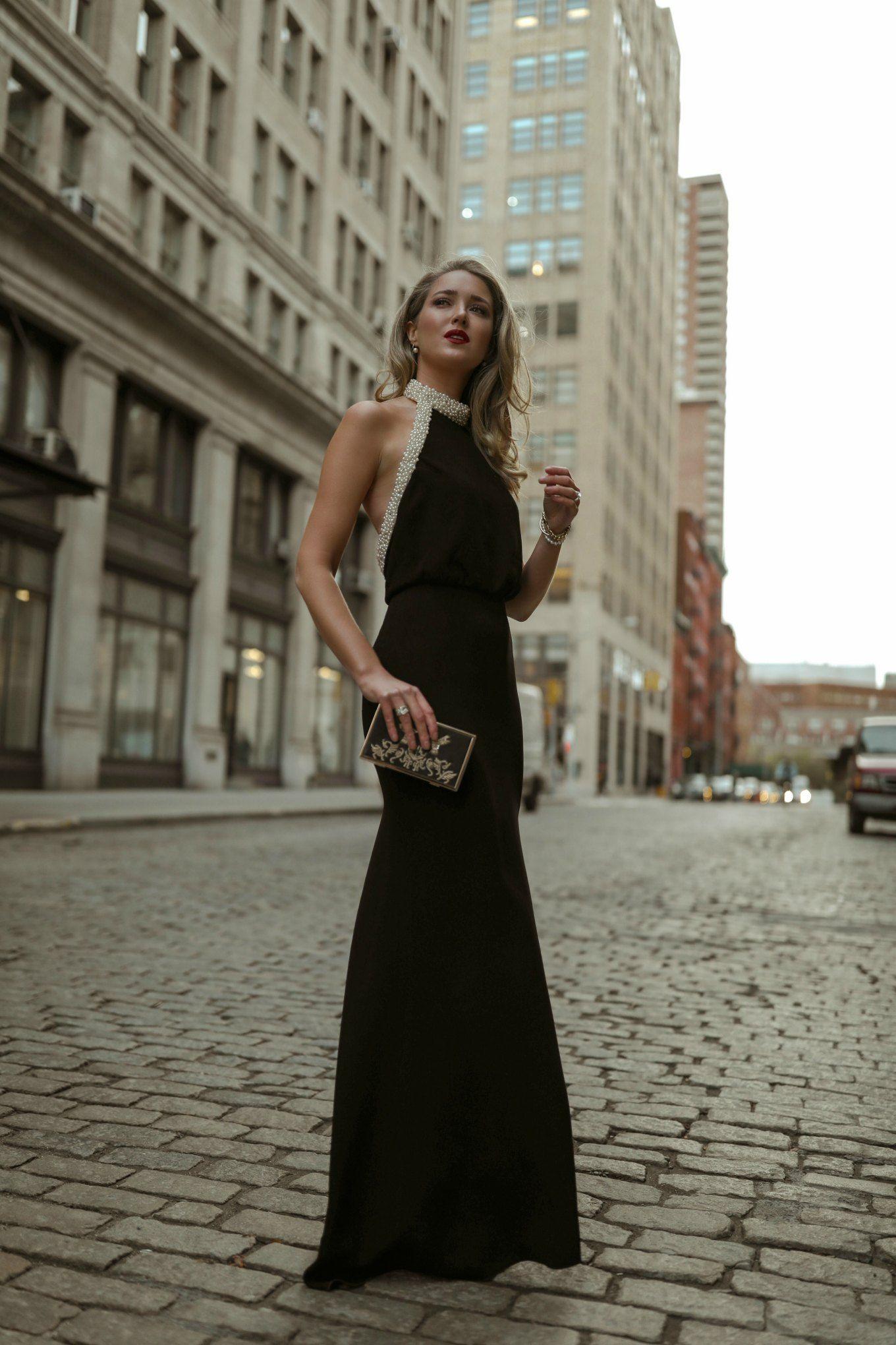 Stunning Rachel Zoe Long Black Dress With Pearl Halter Neckline And Minza Khan Gold Black Evening Gown Black Tie Event Dresses Black Tie Wedding Guest Dress [ 2040 x 1360 Pixel ]