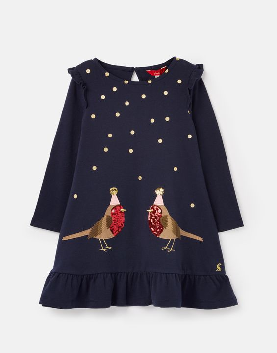 Navy Robins Joules Girls Robin Festive Robin Dress