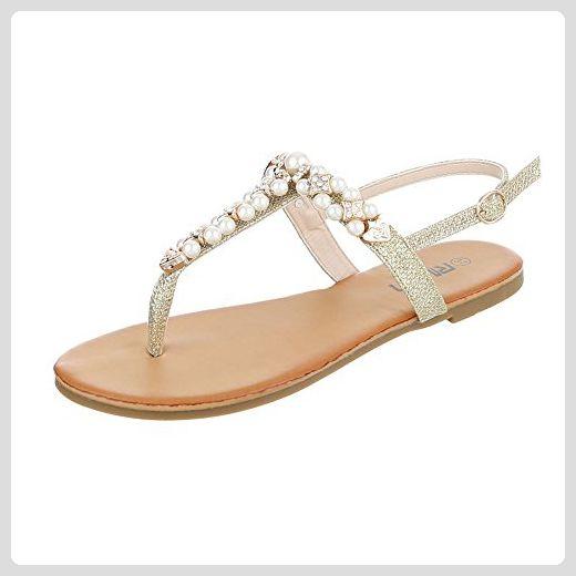 Ital-Design Zehentrenner Damen-Schuhe Peep-Toe Blockabsatz Zehentrenner Sandalen/Sandaletten Beige Multi, Gr 41, Fc-C205-
