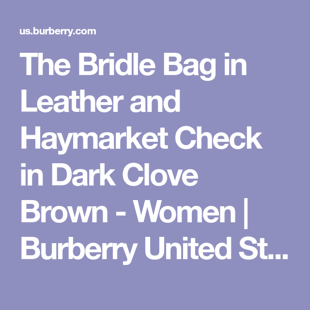 The Bridle Bag in Leather and Haymarket Check in Dark Clove Brown - Women | Burberry United States