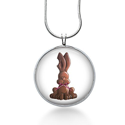 Easter chocolate bunny with bitten ear pendant necklace easter easter chocolate bunny with bitten ear pendant necklace easter gifts for girls fun jewelry http negle Image collections