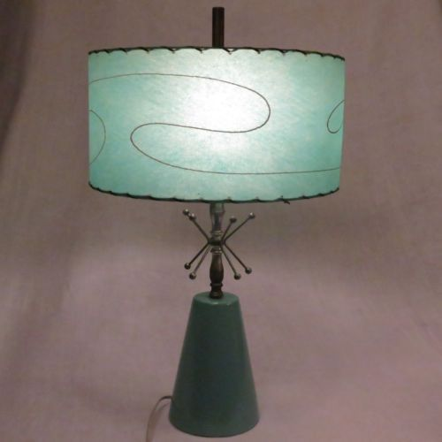 Mid Century Modern Atomic Turquoise Blue Aqua Table Lamp Fiberglass Shade 1950 S Mid Century Lamp Lamp Vintage Table Lamp