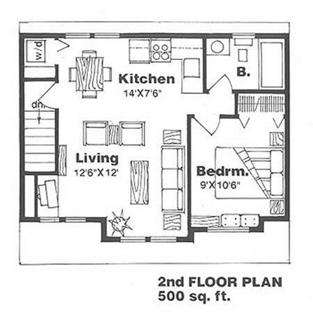 Simple living in an 800 sq ft small house - Farmhouse Style House Plan 1 Beds 1 Baths 500 Sq Ft Plan 116