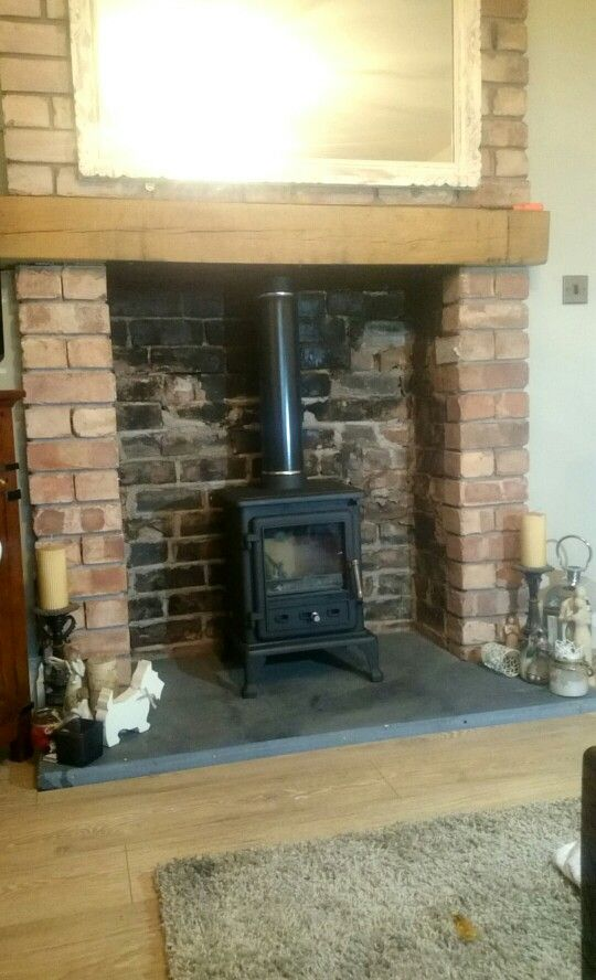 Firefox 5 1 Clean Burn Multi Fuel Burner With Solid Slate Hearth And Oak Mantlepiece In Large Brick Fireplace Www Firesidecompany Co Uk