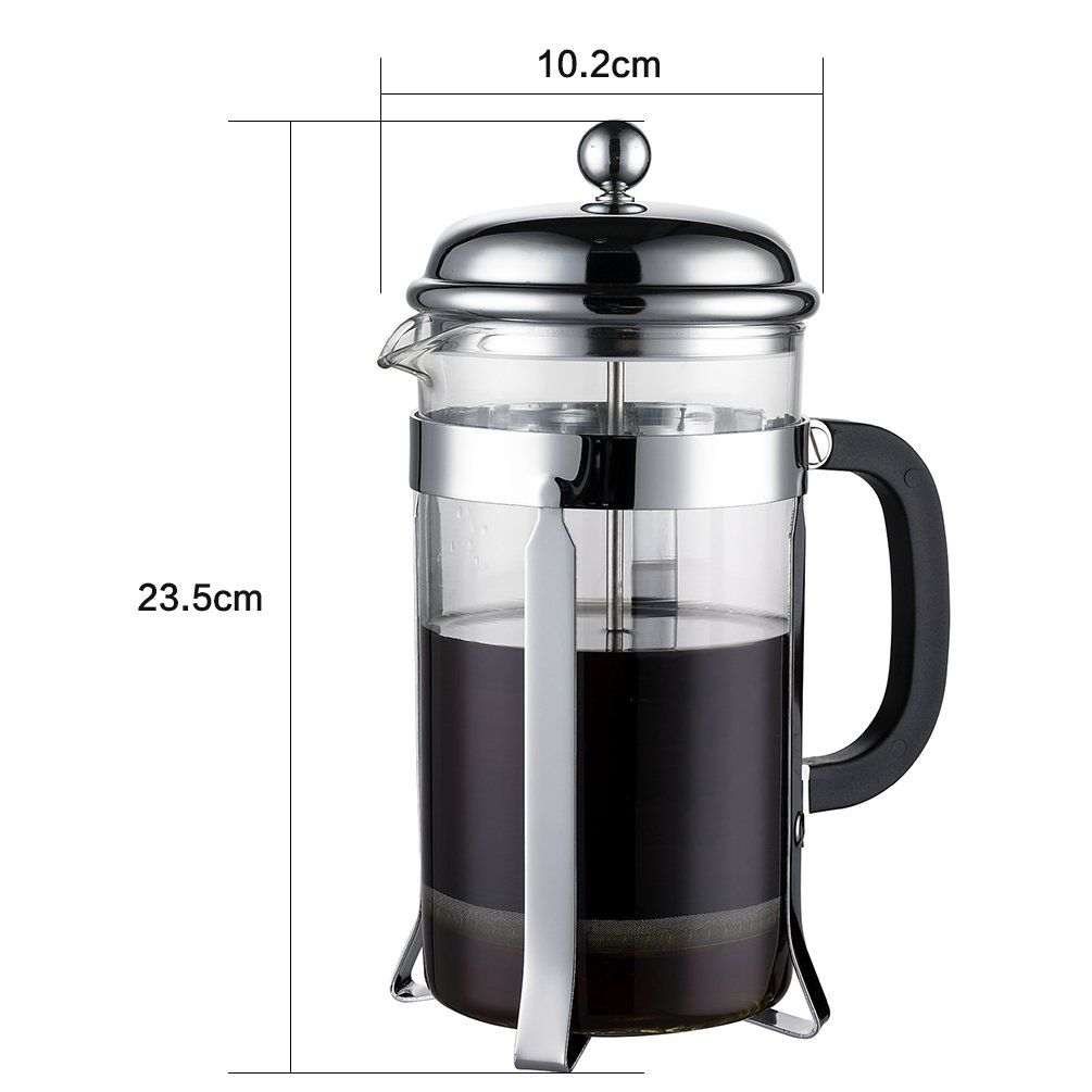 French Press & Espresso Maker, 8 Cups (4 Mugs), Heat