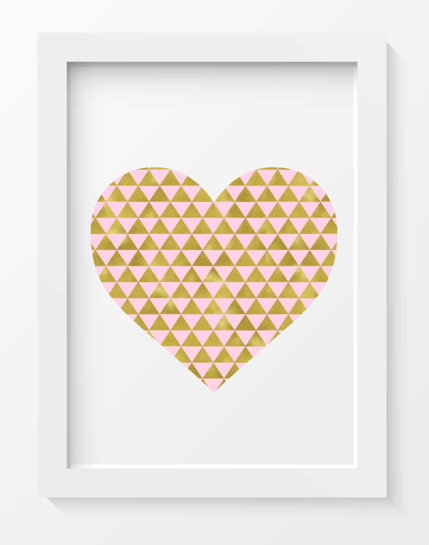 Gold and Pink Heart, Modern heart print, Geometric heart print ...