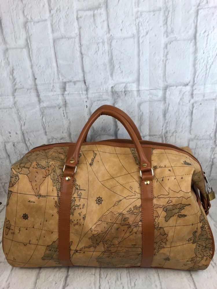 caec16a6154 Victor Design Brown World Maps Zippered Duffle Travel Tote Bag ...