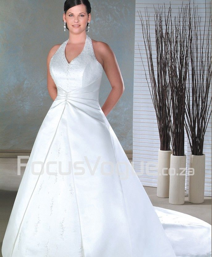 A-line Halter Semi-cathedral Train Organza Bridal Gown - South ...