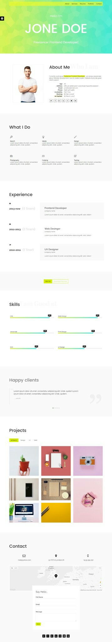 Cv  resume  portfolio html template web \ ui Pinterest Cv - front end developer resume