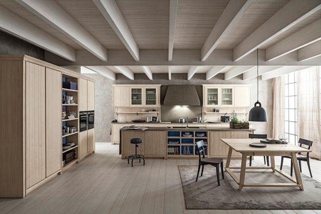 Küche Holz Möbel Design Ideen Wohnzimmer Essplatz Country style - wohnzimmer mit kuche ideen