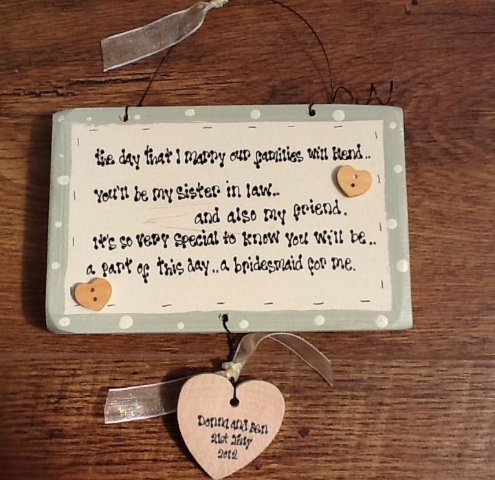 Personalised Chic Bridesmaid Sister In Law Gift