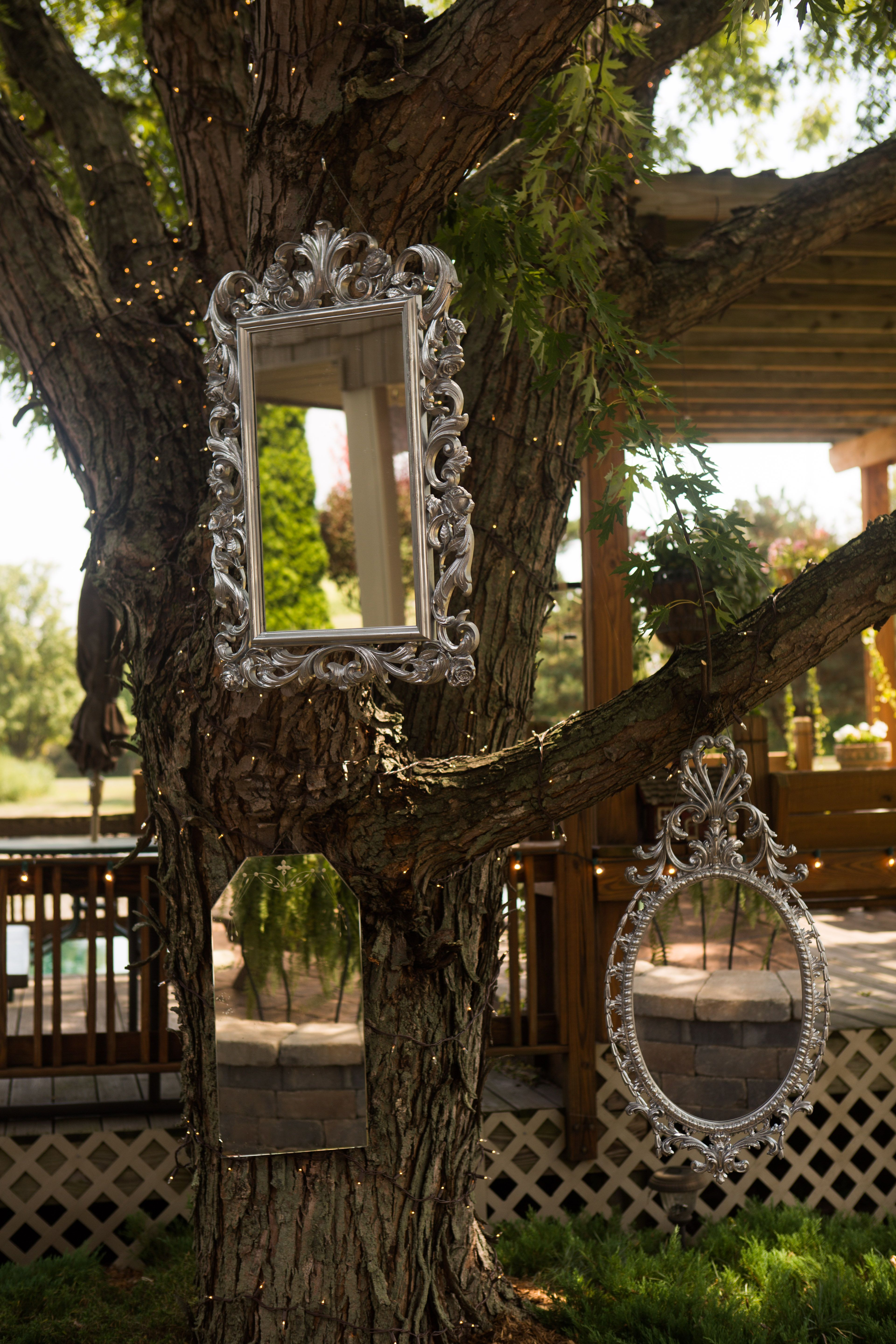 mirrors hanging in the tree with Christmas lights for ...