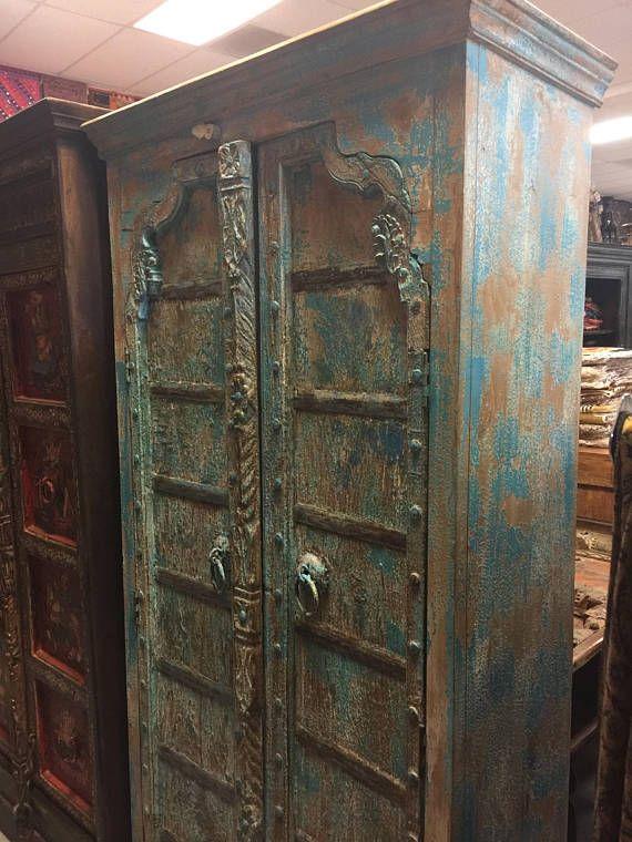 Antique Cabinet Teak Doors India Furniture Blue Distressed