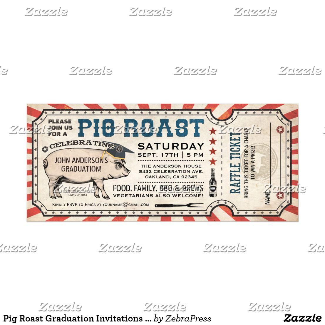 pig roast graduation invitations w raffle ticket congrats grads