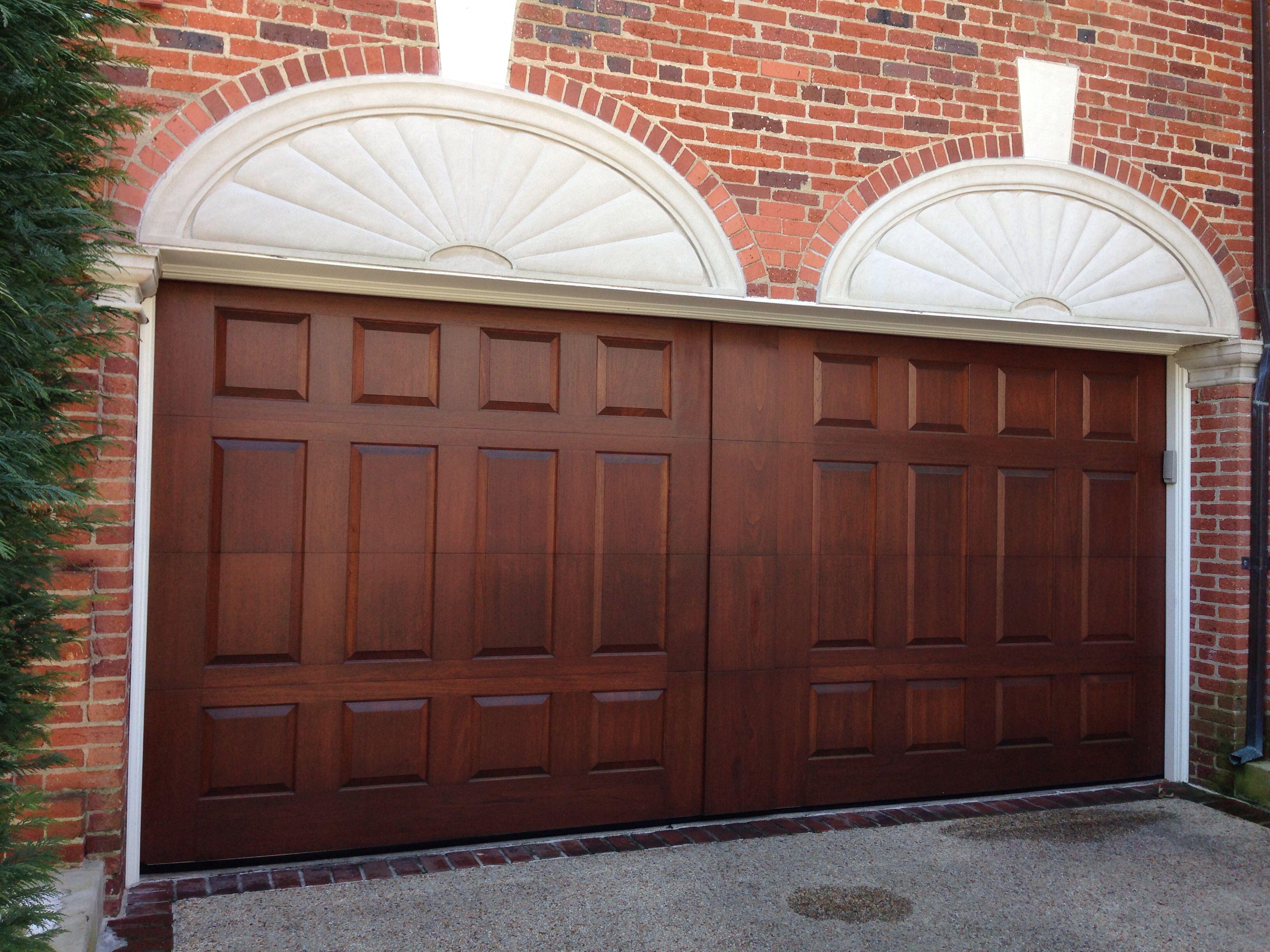 Beautiful raised panel Clear Spanish Cedar wood garage door with wide false center post built into & Beautiful raised panel Clear Spanish Cedar wood garage door with ... pezcame.com