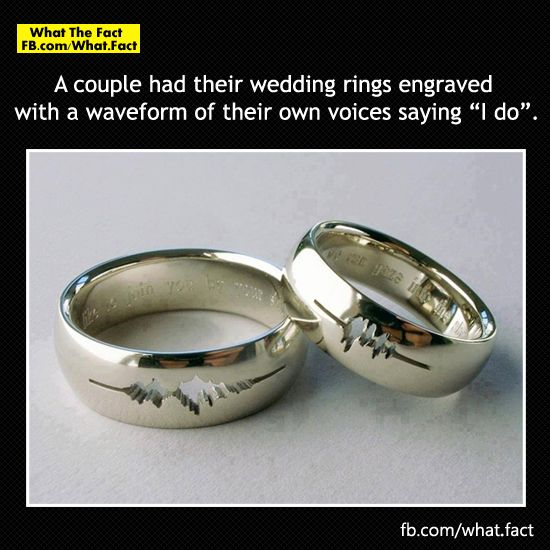 Coolest Thing Ever A Couple Had Their Wedding Rings Engraved With Waveform Of Own Voices Saying I Do Very Unique Idea Voice Wave
