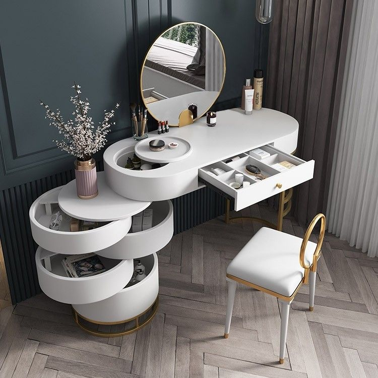 White Makeup Vanity Dressing Table With Swivel Cabient Mirror Stool Included Dressing Room Design Home Room Design House Interior Vanity table with mirror and bench