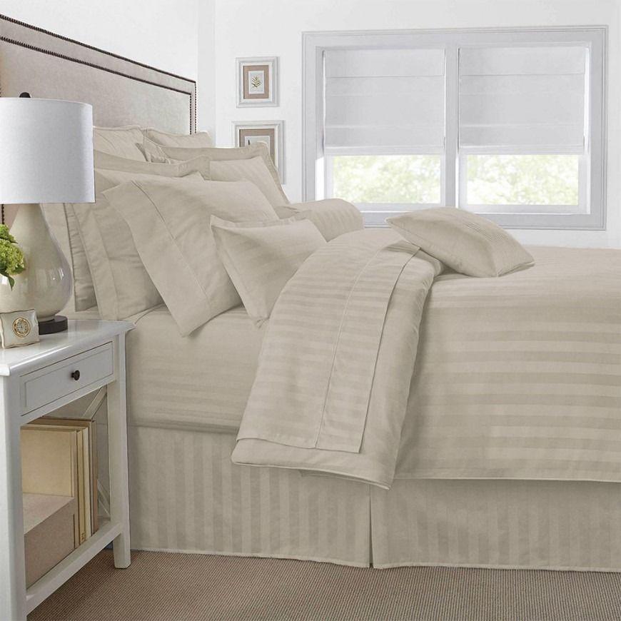 مفرش فندقي مزدوج 5 نجوم بيج غامق عدد القطع 6 Twin Sheet Sets Twin Sheets Cotton Bedding Sets