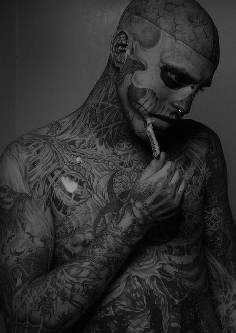 Rick Genest Aka Zombie Boy Want To Meet Him Badly Rick Genest Sick Tattoo Anatomical Tattoos