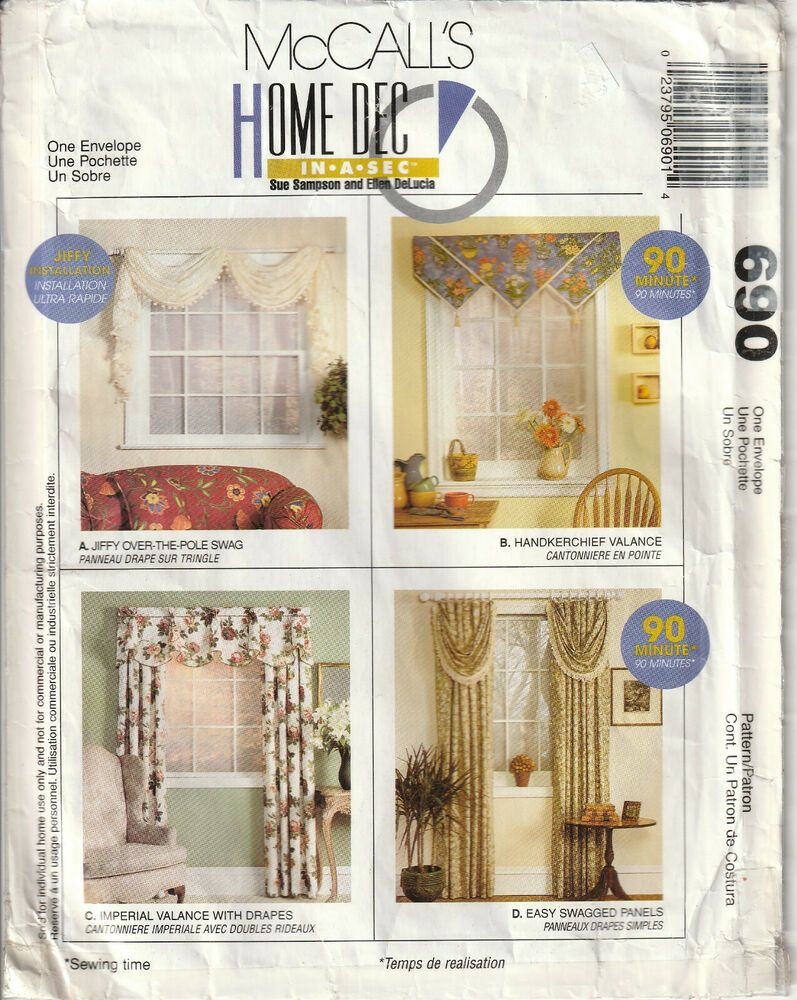 Mccalls 690 Home Dec 90 Minute Swag Valance Drapes Panels Curtains Uncut Mccalls Window Treatments Valance Curtain Patterns