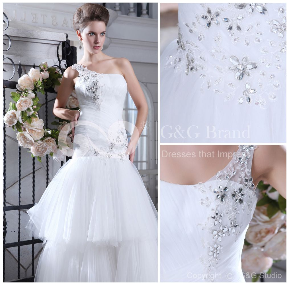 Tulle One-Shoulder Natural Mermaid Sleeveless Layers/Crystals/Appliques/Beading/Sequins Lace-up Ivory Floor-length Modern Wedding Dress - (GGWD1752-XJ-013) $299 | GrandGowns.com