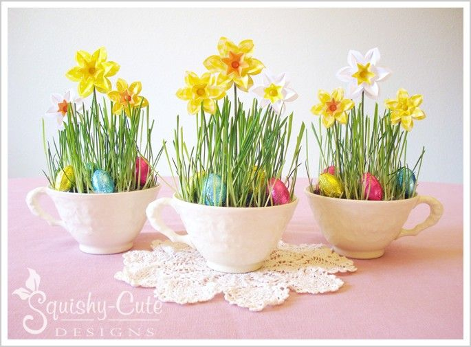 Easter Centerpiece   Paper Daffodils   Spring Birthday Party Ideas   Baby  Shower Ideas   Teacup