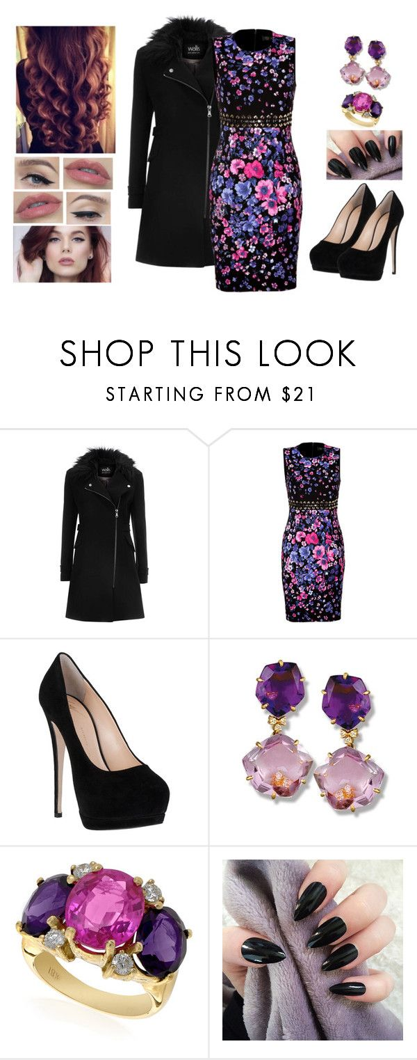 """""""Midnight Flower"""" by teodoramaria98 ❤ liked on Polyvore featuring Wallis, Versace, Giuseppe Zanotti and Buccellati"""