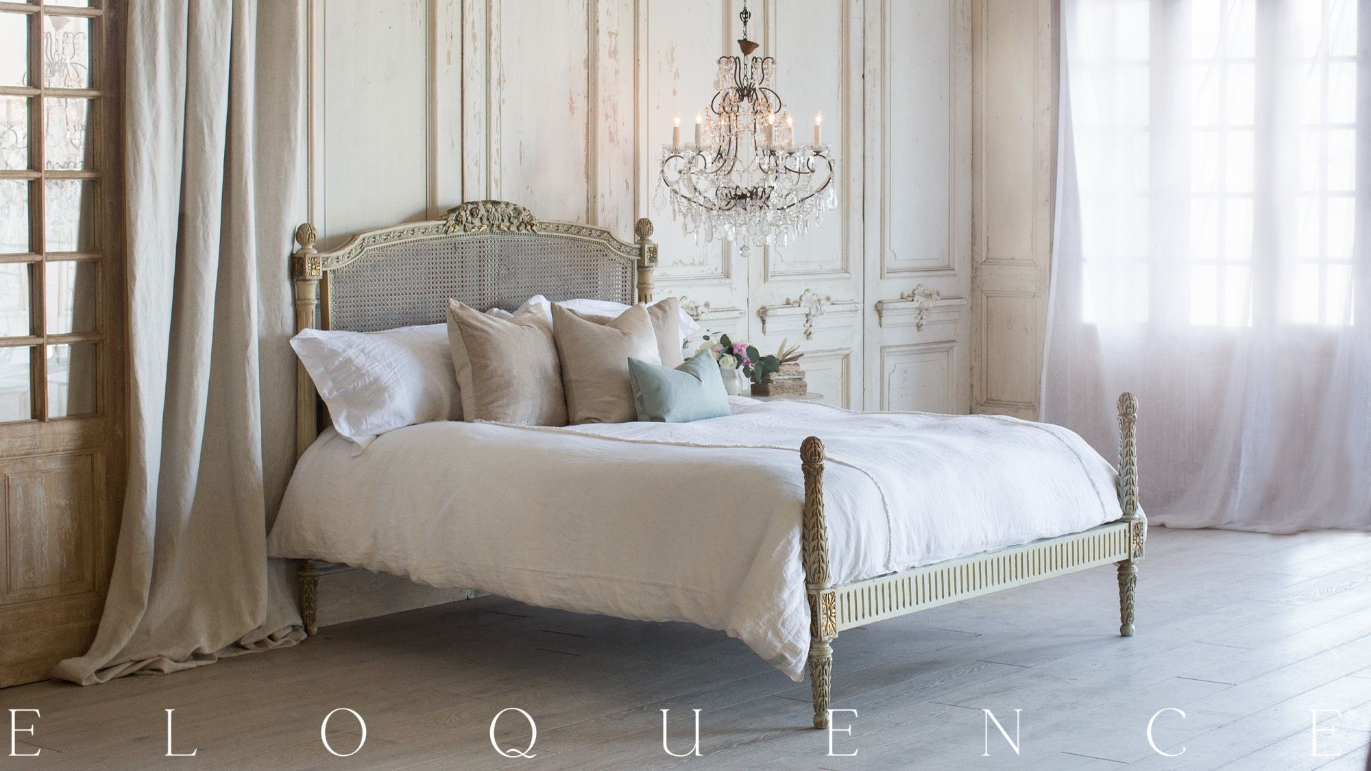 Eloquence, Inc Gorgeous Vintage Bed In A Pistachio With A