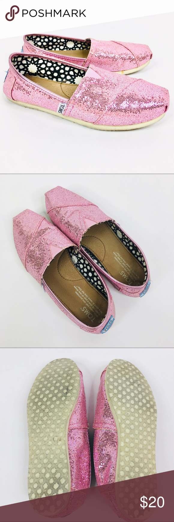 316720ea5078 TOMS Pink Glitter Excellent Condition Classic pink glitter TOMS. Size 6  women. Excellent clean